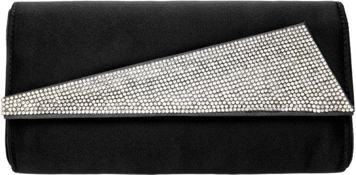 Crystal Embellished Satin Cylinder Clutch