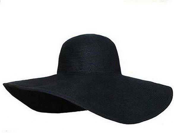 Amazon.com: Nsstar Women's Ridge Wide Floppy Brim Summer Beach Sun Hat Straw Cap Party Garden Travel (Wide Brim: Black): Clothing