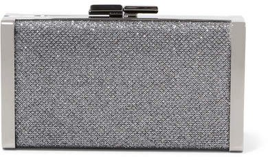 J Box Glittered Canvas Clutch - Silver