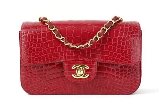 Chanel Classic Mini Flap Red Alligator Skin Leather Cross Body Bag - Tradesy
