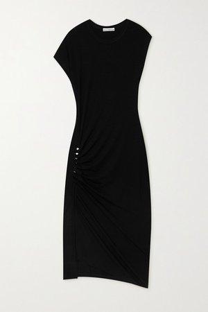 Asymmetric Ruched Stretch-jersey Midi Dress - Black
