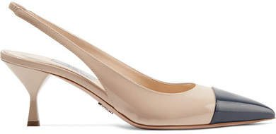 65 Two-tone Patent-leather Slingback Pumps - Neutral