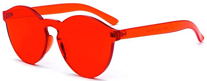 Amazon.com: J&L Glasses Transparent Rimless Ultra-Bold Candy Color sunglasses (Red, clear): Shoes