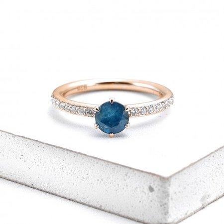 MADRID BLUE SAPPHIRE DIAMOND RING 1 CT in 14K GOLD | EQUALLI.COM