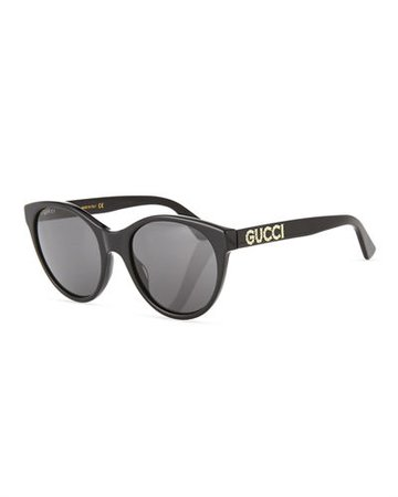 Gucci Acetate Cat-Eye Sunglasses with Crystal Logo
