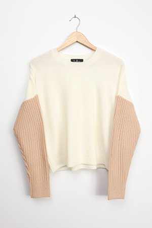 White and Beige Sweater - Color Block Sweater - Two-Tone Sweater