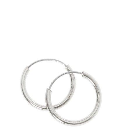 Silver 10MM Hoop Earrings | Claire's US