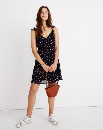 Ruffle-Strap Wrap Dress in Confetti Floral