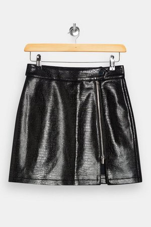 Topshop Black Crocodile PU Zip Mini Skirt