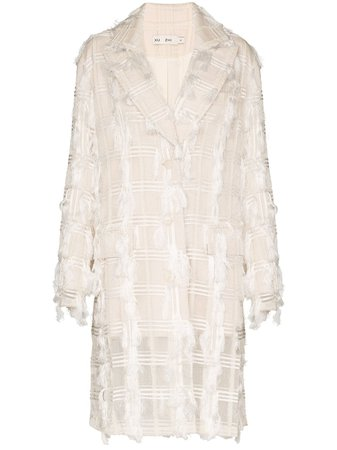 White Xu Zhi Check Appliqué Single-Breasted Coat | Farfetch.com