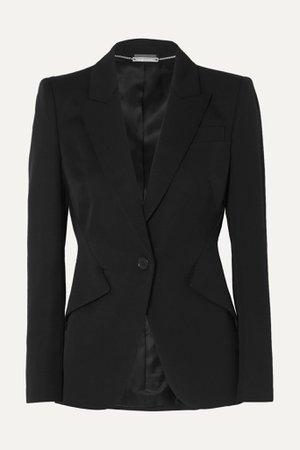 Black Grain de poudre wool blazer   Alexander McQueen   NET-A-PORTER
