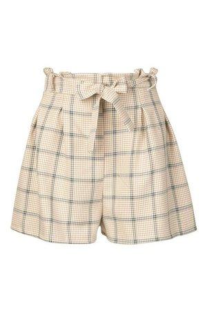 Tonal Check Belted Shorts | Boohoo