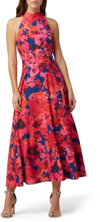 Floral Halter Neck Crepe de Chine Dress