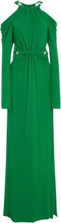 Open-Shoulder Crepe Maxi Dress