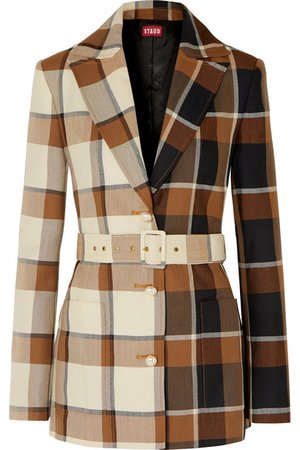 STAUD | Pepper faux pearl-embellished belted checked wool-blend blazer | NET-A-PORTER.COM