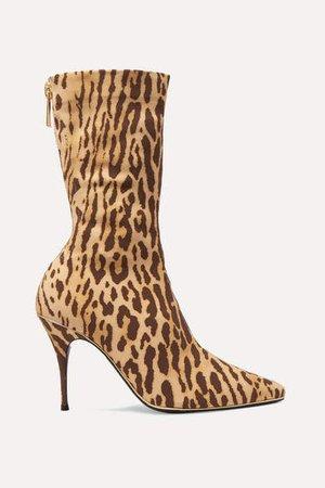 Leopard-print Jersey Sock Boots - Leopard print