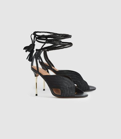 Minerva Black Braided Ankle Strap Sandals – REISS