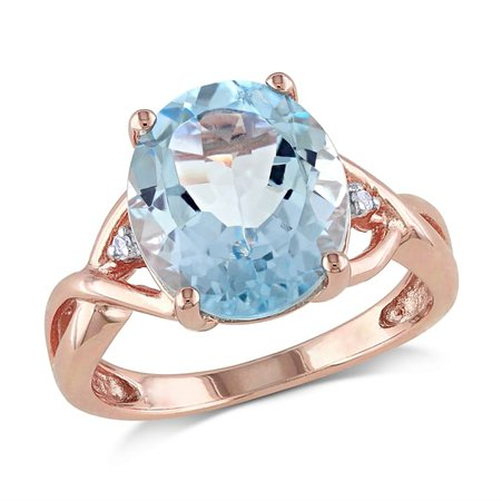 Gemstone Jewelry - 0.01 CT Diamond And 5 1/2 CT Blue Topaz Sky Pink Silver Ring - December - Discounts for Veterans, VA employees and their families! | Veterans Canteen Service