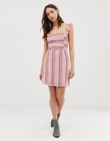 Glamorous Tall tie back mini dress in stripe   ASOS