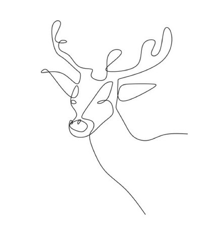 Deer Stag Line Art Drawing (JADE REPRESENTATIVE ANIMAL)