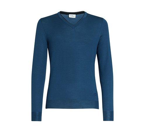 V neck sweater blue