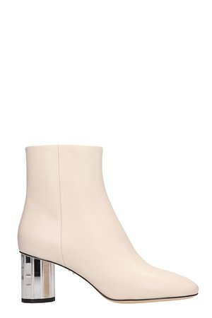 Lola Cruz White Leather Ankle Boots
