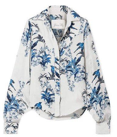 Azalea Printed Silk-georgette Shirt - White