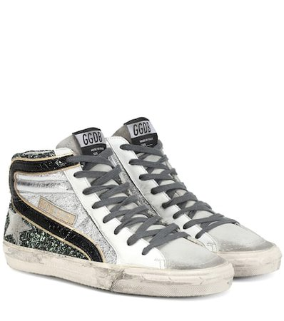 Slide glitter and leather sneakers