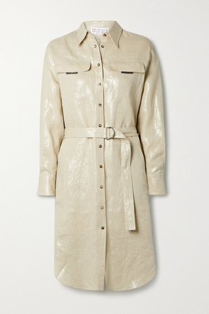 Belted Metallic Linen Shirt Dress - Beige