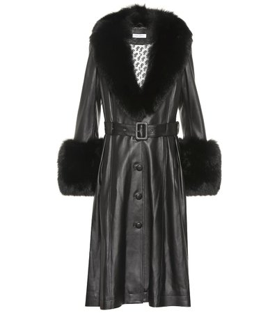 Saks Potts Foxy fur-trimmed leather coat