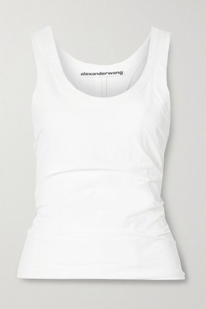 Ruched Stretch-shell Tank - White