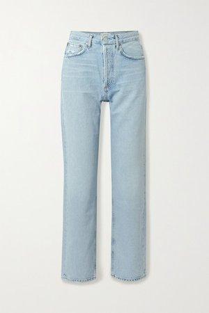 '90s Distressed Mid-rise Straight-leg Jeans - Mid denim