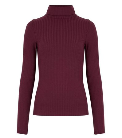 Burgundy Ribbed Roll Neck Top | New Look