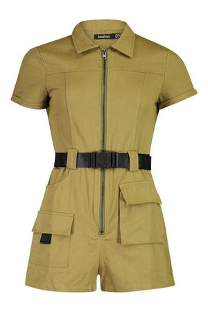 Utility Belted Playsuit   Boohoo