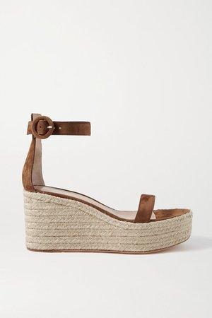 Portofino 85 Suede Espadrille Wedge Sandals - Brown