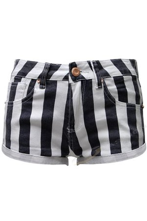 Black and white striped vertical shorts