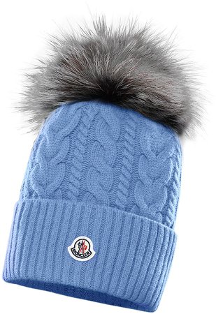 Cable Wool & Cashmere Beanie with Genuine Fox Fur Pom