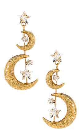 Jennifer Behr Vela Earring in Crystal Antique Gold | REVOLVE