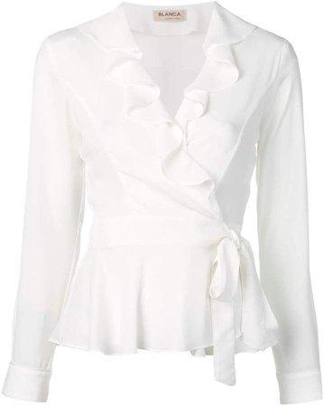 Blanca ruffled wrap blouse