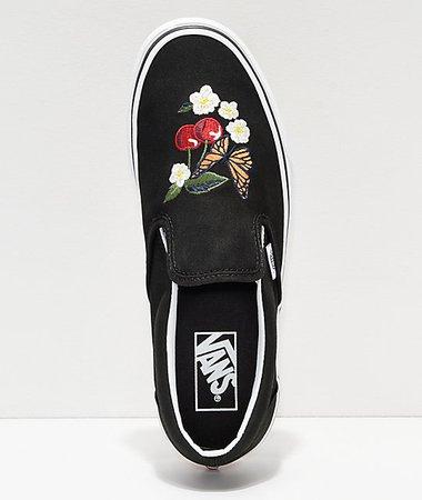 Vans Slip-On Checker Floral Black Skate Shoes   Zumiez