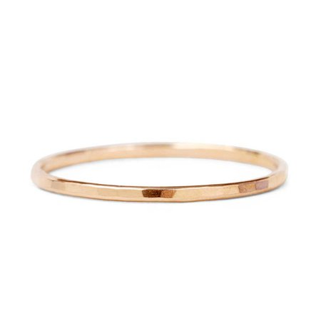 Catbird, Classic Hammered Ring, Rose Gold