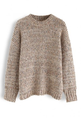 Round Neck Loose Knit Sweater in Tan - Long Sleeve - TOPS - Retro, Indie and Unique Fashion