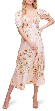 Puff Sleeve Satin Midi Dress