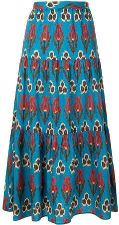Floral-Print Midi Skirt