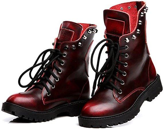 Amazon.com   Shenn Women's Round Toe Mid Calf Punk Military Combat Boots(Wine Red, 9 M US)   Mid-Calf
