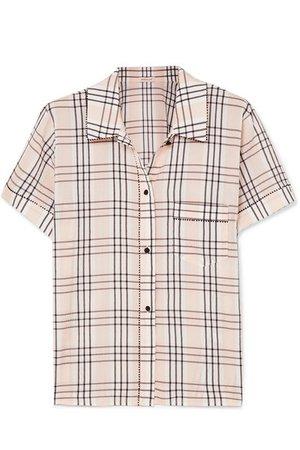 Morgan Lane | Tami plaid seersucker pajama shirt | NET-A-PORTER.COM