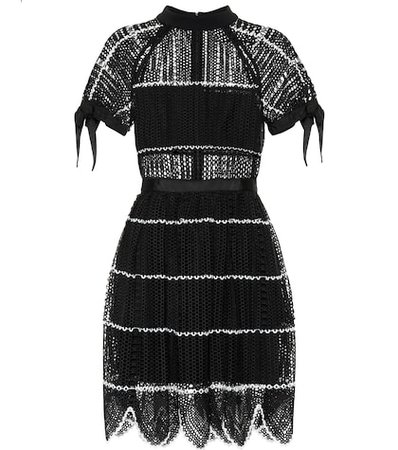 Scalloped crochet minidress