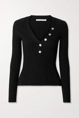 Juliana Ribbed Stretch Cotton-blend Top - Black