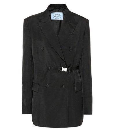 Belted double-breasted blazer