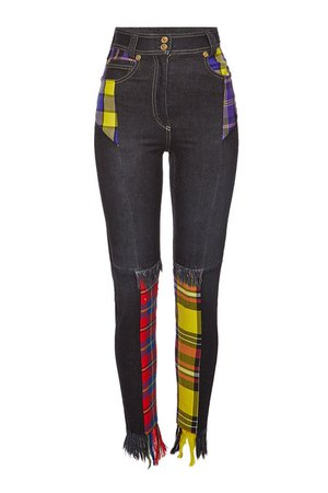 Versace - Distressed Jeans Plaid Patchwork - multicolored